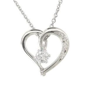 ダイヤモンド オープンハート 誕生石 ネックレス 一粒 ダイヤモンド ハート ホワイトゴールドk18 チェーン 人気 18金 ダイヤ レディース atrus