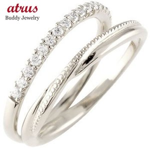 ダイヤモンド エタニティ 婚約指輪 エンゲージリング ハードプラチナ ハーフエタニティ ミル打ち リング pt950 ダイヤ ストレート|atrus