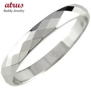 プラチナ 指輪 メンズ pt900 リング シンプル カットリング ダイヤモンドカット ピンキーリング ダイヤカット 人気 ストレート 男性 送料無料|atrus