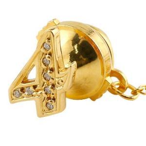 ピンブローチ ラペルピン ダイヤモンド 数字 ナンバー 4 イエローゴールドk18 18金 レディース タックピン ダイヤ 送料無料|atrus