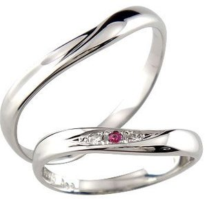 V字 ペアリング 結婚指輪 ダイヤモンド ルビー プラチナ マリッジリング 結婚式 ウェーブリング ダイヤ カップル|atrus