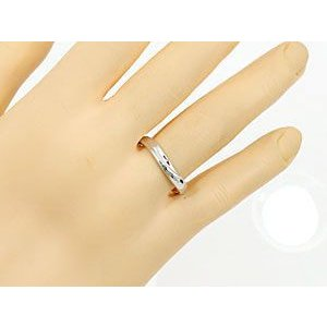 V字 ペアリング 結婚指輪 ダイヤモンド ルビー プラチナ マリッジリング 結婚式 ウェーブリング ダイヤ カップル|atrus|05