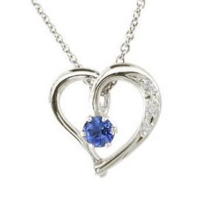 ダイヤモンド オープンハート 誕生石 サファイア ネックレス 一粒 プラチナ 9月誕生石 チェーン 人気 ダイヤ レディース 宝石 atrus