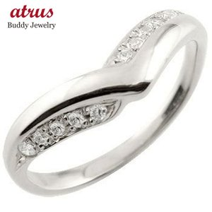エンゲージリング プラチナ ダイヤモンド V字 婚約指輪 結婚 リング ウェーブリング ダイヤ atrus