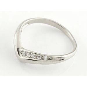 エンゲージリング プラチナ ダイヤモンド V字 婚約指輪 結婚 リング ウェーブリング ダイヤ atrus 02