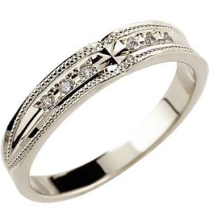 エンゲージリング プラチナ ダイヤモンド 婚約指輪 クロス リング ミル打ち リング ダイヤ ストレート|atrus