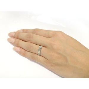 エンゲージリング プラチナ ダイヤモンド 婚約指輪 クロス リング ミル打ち リング ダイヤ ストレート|atrus|03