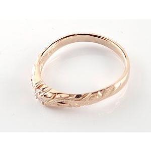 ハワイアンジュエリー 婚約指輪 エンゲージリング 一粒 ピンクゴールドk18 ハワイアンジュエリー 18金 k18pg ストレート|atrus|03