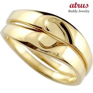結婚指輪 マリッジリング 人気 ペアリング ハート イエローゴールドk18 結婚式 18金 ストレート カップル 男性用 atrus