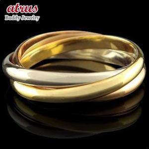 ピンキーリング 指輪 3連 リング プラチナ イエローゴールドk18 ピンクゴールドk18 地金リング 宝石なし 18金 ストレート 2.3 送料無料|atrus