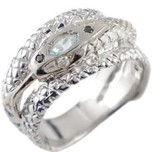 蛇 リング ブルートパーズ ダイヤモンド スネーク 指輪 ホワイトゴールドk18 ダイヤ 18金 宝石 送料無料 atrus