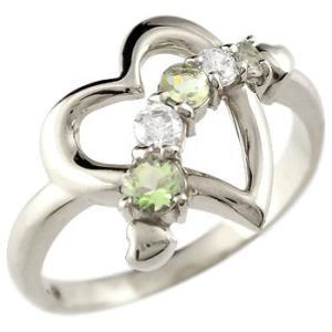 ダイヤモンド オープンハート ピンキーリング プラチナ リング ペリドット 指輪 ダイヤ 8月誕生石 宝石 送料無料|atrus