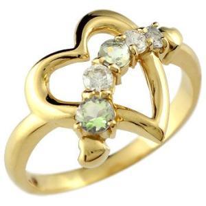 ダイヤモンド オープンハート ピンキーリング リング ペリドット 指輪 イエローゴールドk18 18金 ダイヤ 8月誕生石 宝石 送料無料|atrus