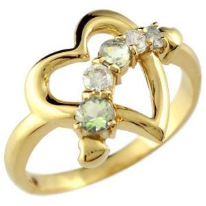 ダイヤモンド オープンハート ピンキーリング リング ペリドット 指輪 イエローゴールドk18 18k 18金 ダイヤ 8月誕生石 宝石 送料無料|atrus