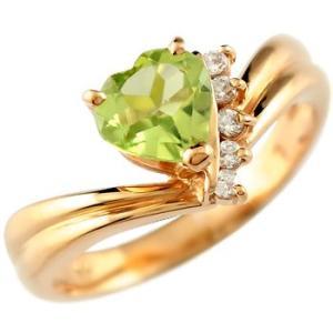 ピンキーリング ハート リング ペリドット ダイヤモンド 指輪 ピンクゴールドk18 18k 18金 ダイヤ 8月誕生石 送料無料|atrus
