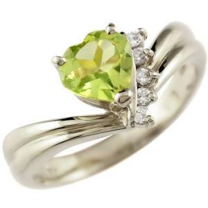 ピンキーリング ハート リング ペリドット ダイヤモンド 指輪 ホワイトゴールドk18 18金 ダイヤ 8月誕生石 送料無料|atrus
