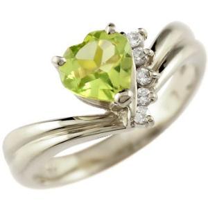 ピンキーリング ハート リング ペリドット ダイヤモンド 指輪 ホワイトゴールドk18 18k 18金 ダイヤ 8月誕生石 送料無料|atrus