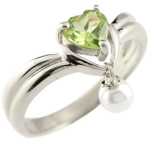 ピンキーリング ハート プラチナ リング ペリドット パール 指輪 8月誕生石 真珠 フォーマル 送料無料|atrus