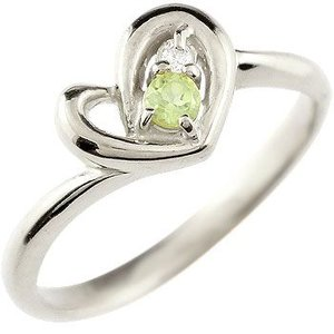 ダイヤモンド オープンハート ピンキーリング プラチナ リング ペリドット 指輪 ダイヤ 8月誕生石 送料無料|atrus