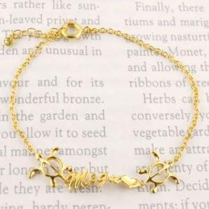 ハワイアンジュエリー ブレスレット ネーム 亀 一粒 ゴールドk18 18金 宝石 送料無料|atrus