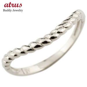 プラチナ リング ピンキーリング 指輪 V字 地金リング 宝石なし ウェーブリング 送料無料 atrus