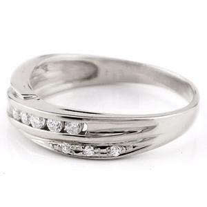 ペアリング 結婚指輪 マリッジリング ダイヤモンド ホワイトゴールドk18 結婚式 18金 ダイヤ ストレート カップル|atrus|02