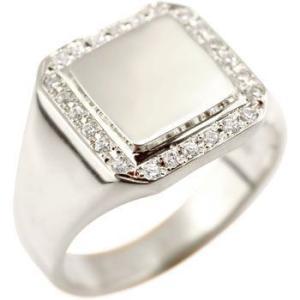 プラチナ 指輪 メンズ 印台 リング ダイヤモンド ダイヤ 幅広 シンプル 人気 ピンキーリング ストレート 男性 送料無料|atrus