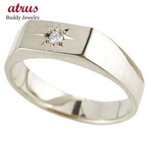メンズ ダイヤモンド 印台リング 指輪 ダイヤ 一粒 ダイヤモンドリング ホワイトゴールドk10 10金ストレート 男性用 送料無料|atrus