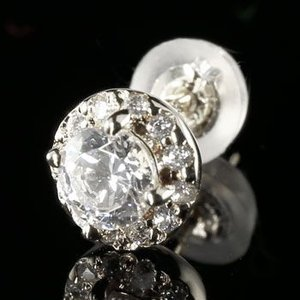 ピアス メンズ プラチナ 片耳ピアス ダイヤモンド プラチナ 大粒 ダイヤ 取り巻き ダイヤ 男性用 あすつく 送料無料|atrus