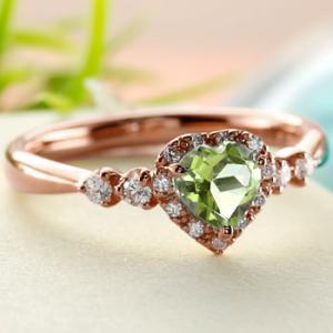 ハート リング ペリドット ダイヤモンド 指輪 ピンクゴールドk18 取り巻き ダイヤ 18金 ストレート 宝石 送料無料|atrus