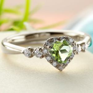 ハート プラチナ リング ペリドット ダイヤモンド 指輪 取り巻き ダイヤ ストレート 宝石 送料無料|atrus
