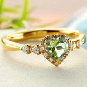 ハート リング ペリドット ダイヤモンド 指輪 イエローゴールドk18 取り巻き ダイヤ 18金 ストレート 宝石 送料無料|atrus