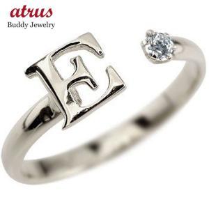 ピンキーリング イニシャル リング アクアマリン 指輪 アルファベット シルバー 3月誕生石 ストレート 送料無料|atrus