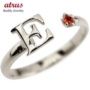 イニシャル リング ガーネット 指輪 アルファベット ピンキーリング ホワイトゴールドk18 1月誕生石 18金 ストレート 送料無料|atrus