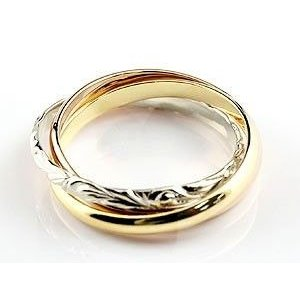 ハワイアンジュエリー ペアリング 結婚指輪 マリッジリング 3連リング プラチナ ゴールドK18 甲丸リング 地金リング スリーカラー pt900 18金 ストレート2.3|atrus|02