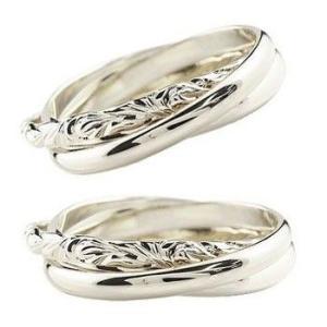 ハワイアンジュエリー ペアリング 結婚指輪 マリッジリング 3連リング 甲丸リング シルバーリング 地金リング sv925 ストレート カップル2.3|atrus