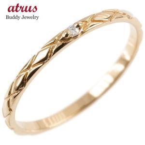 婚約指輪 エンゲージリング ダイヤモンド ピンキーリング 一粒 ピンクゴールドk18 極細 18金 華奢 アンティーク ストレート 指輪|atrus