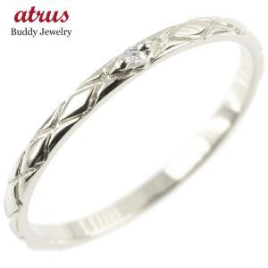婚約指輪 エンゲージリング ダイヤモンド ピンキーリング 一粒 ホワイトゴールドk18 極細 18金 華奢 アンティーク ストレート 指輪|atrus