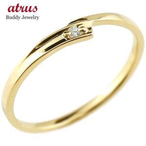 ピンキーリング ダイヤモンド イエローゴールドk10 一粒 10金 極細 華奢 スパイラル 指輪|atrus