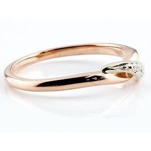 婚約指輪 エンゲージリング ダイヤモンド ピンキーリング ピンクゴールドk18 プラチナ ダイヤ コンビリング 18金 ストレート 指輪|atrus|02
