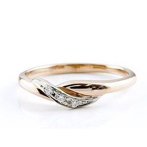 婚約指輪 エンゲージリング ダイヤモンド ピンキーリング ピンクゴールドk18 プラチナ ダイヤ コンビリング 18金 ストレート 指輪|atrus|03