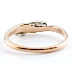 婚約指輪 エンゲージリング ダイヤモンド ピンキーリング ピンクゴールドk18 プラチナ ダイヤ コンビリング 18金 ストレート 指輪|atrus|04