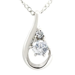 ネックレス ダイヤモンド ホワイトゴールド ネックレス ダイヤモンド ペンダント ティアドロップ チェーン 人気 4月誕生石 k10|atrus