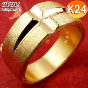 純金 指輪 メンズ 24金 ゴールド k24 24k クロス リング 幅広 地金 ストレート 男性用 送料無料|atrus