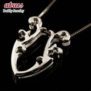 メンズ 馬蹄 ホワイトゴールドk10 ネックレス ペンダント ホースシュー 蹄鉄 アンティーク風 10金 チェーン 人気 バテイ 男性用  シンプル 送料無料|atrus