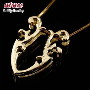 ネックレス メンズ 馬蹄 イエローゴールドk18 ネックレス ペンダント ホースシュー 蹄鉄 アンティーク風 18金 チェーン 人気 バテイ 男性用 送料無料|atrus