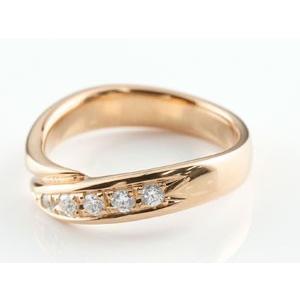 婚約指輪 エンゲージリング ダイヤモンド リング 指輪 ダイヤ ダイヤモンドリング ピンクゴールドk18 スパイラル ウェーブリング 18金 レディース|atrus|03