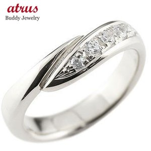 エンゲージリング プラチナ ダイヤモンド 婚約指輪 リング 指輪 ピンキーリング ダイヤ リング スパイラル ウェーブリング pt900 レディース|atrus