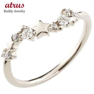 星 スター シルバーリング ダイヤモンド ピンキーリング 指輪 華奢リング 重ね付け sv レディース 4月誕生石 宝石 送料無料|atrus