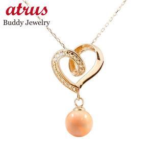 ダイヤモンド オープンハート ネックレス トップ 誕生石 珊瑚 コーラル サンゴ ネックレス トップ ピンクゴールドk18 18k 人気 3月誕生石 18金 レディース 女性|atrus